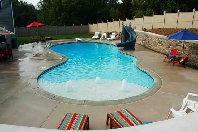 Custom pool with slide